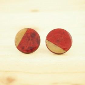 Boucles d'oreilles en Calebasse séchée D rouges faites main éthique