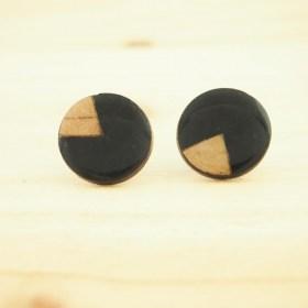 Boucles d'oreilles en Calebasse séchée P noirs faites main éthique