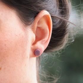 Boucles d′oreilles COLIBRI lilas faits main éthique