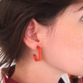 Boucles d′oreilles en ivoire végétal Profil XL faites main | Corail