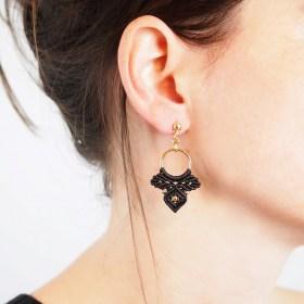 Boucles d'oreilles Jabiru Noir faits main ethique