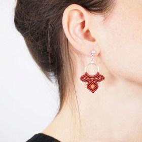 Boucles d'oreilles Jabiru Terracotta faits main ethique