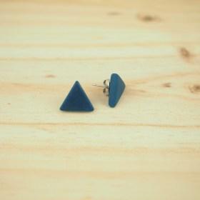 Boucles d′oreilles triangles ARPIA bleues faits main éthique