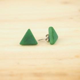 Boucles d'oreilles en ivoire végétal triangles Arpia faites main | Vertes