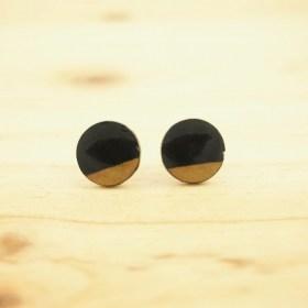 Boucles d′oreilles en Calebasse séchée D 12mm Noir-beige faites main éthique