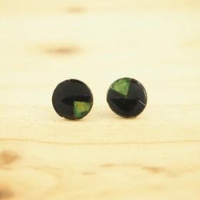 Boucles d′oreilles en Calebasse séchée P 12mm Turquoise-beige faites main éthique