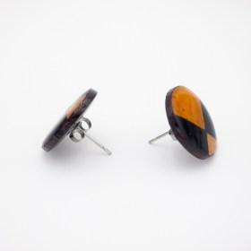 Boucles d'oreilles en Calebasse séchée Q Noir-Moutarde-Beige faites main éthique