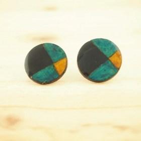 Boucles d'oreilles en Calebasse séchée Q Noir-Vert Claire-Beige faites main éthique