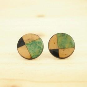 Boucles d′oreilles en Calebasse séchée Q Noir-Vert Claire-Beige faites main éthique