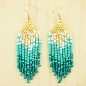 Boucles d'oreilles en perles C turquoise-doré  faites main