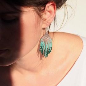 Boucles d'oreilles en perles C turquoise fait main