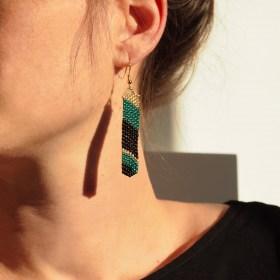 Boucles d'oreilles en perles M noir-doré-émeraude faits main