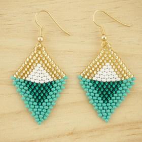 Boucles d'oreilles en perles R Turquoise-doré fait-main