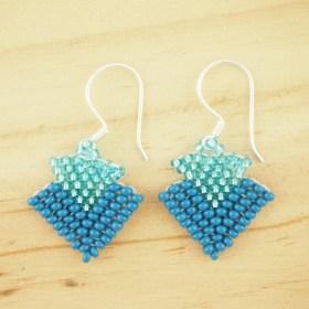 Boucles d'oreilles en perles T bleu faits main argent 925