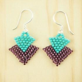 Boucles d'oreilles en perles T turquoise-bordeaux fait-main