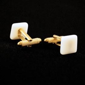 Boutons de manchette originaux en ivoire végétal fait main - Carrés - GRISES