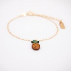 Bracelet fin en calebasse séchée et chaîne argent 925 | Ananas
