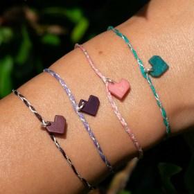Bracelets fins réglables en ivoire végétal Tressi | Cœur