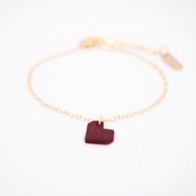 Bracelet en ivoire végétal et argent 925 cœur rouge