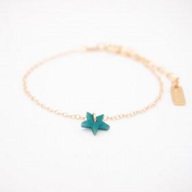 Bracelet en ivoire végétal plaqué or 24k étoile turquoise