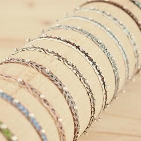 Bracelets 40 fils et argent 925 Pibi faits main fins |Aire / Tierra :Noirs - Blancs - Marrons - Verts