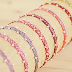 Bracelets 40 fils et argent 925 Pibi 2 faits main fins |Fuego : Violets - Roses - Rouges
