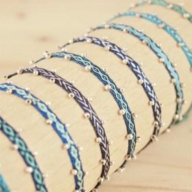 Bracelets 40 fils et argent 925 Pibi 2 faits main fins |Mar : Bleus - Turquoises
