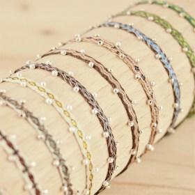 Bracelets 40 fils et argent 925 Pibi 2 faits main fins |Tierra : Marrons - Verts - Beiges