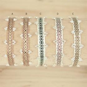 Bracelets 80 fils et perles en argent 925  Pibi 3 faits main fins | Marrons - Beiges - Blanc