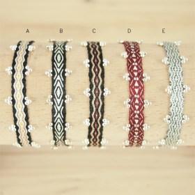 Bracelets 80 fils et perles en argent 925  Pibi 3 faits main fins | Noirs - Argent - Bordeaux