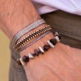 Bracelet homme en ivoire végétal Rok fait main | Marron - Beige