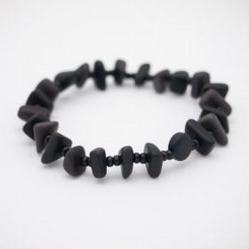 Bracelet homme en ivoire végétal Rok fait main | Noir - Gris