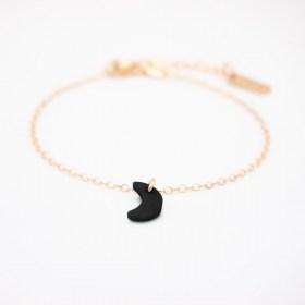 Bracelet en ivoire végétal et argent 925 doré lune