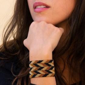 Bracelet perles Brama Éclair fait main |Noir - Miel - Doré