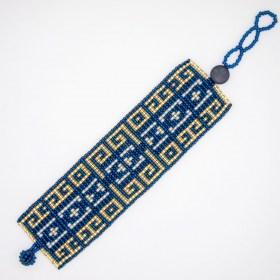Bracelet perles Brama Jardin fait main |Bleu - Doré - Blanc