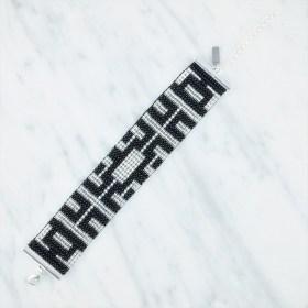 Bracelet perlesBramitaSilver Labyrinthe fait main | Noir - Argent