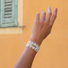 Bracelet perles Bramita Labyrinthe fait main |Blanc - Doré