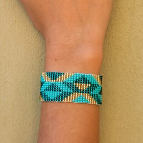 Bracelet perles Bramita V fait main |Turquoise - Doré
