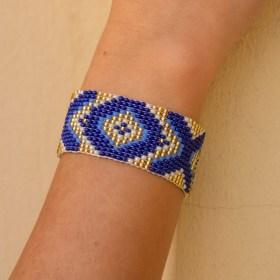 Bracelet perles Bramita XOX fait main |Bleu - Doré