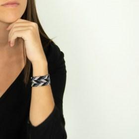 Bracelet perles Bramita Eclair fait main |Noir - Gris - Argent
