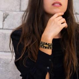 Bracelet perles Bramita Labyrinthe fait main |Noir - Doré