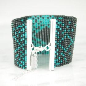 Bracelet perlesBraka Silver Adn fait main | Noir - Émeraude - Plaqué argent 925