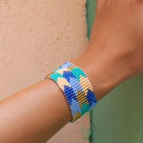 Bracelet perles Bramita Trio Flèches fait main |Bleu - Turquoise - Doré