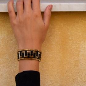 Bracelet perles Bramita Chemin fait main |Noir - Doré