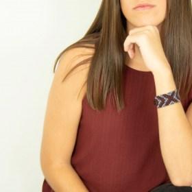 Bracelet perles Bramita XOX fait main |Bordeaux - Gris - Argent