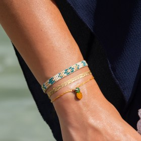 Bracelets fins réglables en calebasse séchée Toty | Ananas