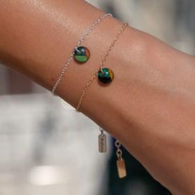 Bracelet fin en calebasse séchée et chaine argent 925 ou plaqué or | Ronds Inter