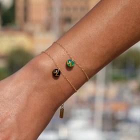 Bracelet fin en calebasse séchée et chaine argent 925 ou plaqué or | Ronds Won