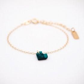 Bracelet fin en calebasse séchée et chaine argent 925 ou plaqué or | Cœurs bleu et rouge