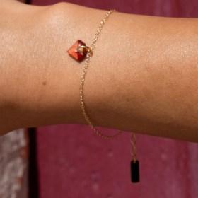 Bracelet fin en calebasse séchée et chaine argent 925 ou plaqué or | Diamant